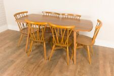 Vintage Retro Ercol Light Elm Blonde Plank Dining Table and 6 Chiltern Chairs