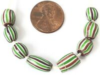 8 Amazing Stripes Venetian Antique Wound Drawn African Glass Trade beads