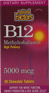 2 x B12 Methylcobalamin, 5,000 mcg, 60 Chewable Tablets(120 tabs in total)