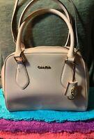 Calvin Klein Scarlet Pale Blush Peach Saffiano Leather Dome Zip Hobo Satchel
