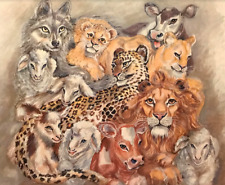 1980 Nan Lee They Shall Dwell Together Lion Cow Lamb Leopard Lithograph #S276