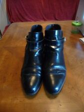 BALLY Black Leather Riding Style Boots S. 9.5B Made in Italy