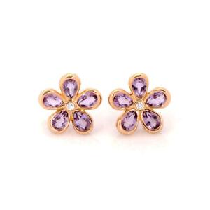 Tiffany & Co. Enchant Flower Diamond Amethyst 18k Rose Gold Stud Earrings