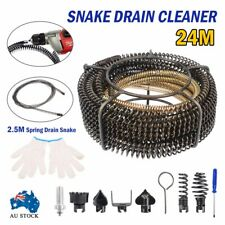 24M Spring Drain Cleaner Snake Plumbing Cleaning Tools Spirals Electrical Drill