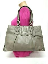 COACH ASHLEY SLATE GRAY GATHERED LEATHER CARRYALL SHOULDER HANDBAG F19425