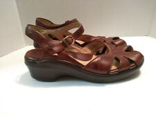 Ariat Womens 10B Brown Leather Buckle Ankle Strap Open Toe Wedge Platform Sandal