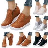Womens Zipper Platform Loafers Casual Hidden Heel Wedge Slip On Shoes Outdoor US