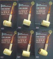 """6 PACK Missouri Meerschaum Corn Cob Pipe UnSmoked BENT & STRAIGHT Stem NEW 6"""""""