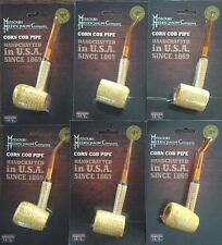 6 PACK Missouri Meerschaum Corn Cob Pipe UnSmoked BENT & STRAIGHT Stem NEW 6""