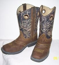 Smoky Mountain Boots Youth Pawnee Brown/Camo Leather Square Toe size 4