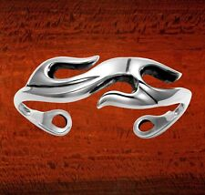 Womens Sterling Silver Flames Wave Punk Biker Style Solid Cuff Bangle