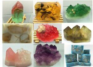 Huge Natural Luxury Gemstones Crystal Geodes Soap Rocks.Made In US.5-8oz each
