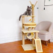Beige Cat Tree Shelf Condo Furniture Scratching Post Pet Kitten House Solid Wood
