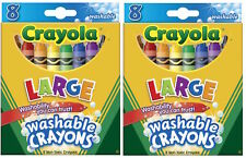 Crayola 3280 Washable Ultra-Clean ColorMax Large Crayons 8 Colors Set Of Two!