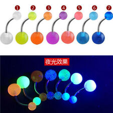 Creative Lots 7Pcs Glow In The Dark Belly Button Navel Bar Rings Body Piercing