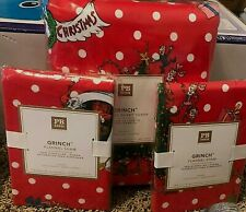 Pottery Barn Teen GRINCH Flannel FULL QUEEN duvet 2 std shams RED CHRISTMAS kids
