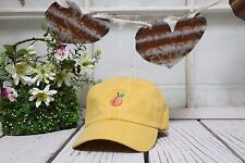 PEACH Embroidered Curved Low Profile Baseball Polo Cap Yellow