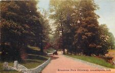Indianapolis IN~Model Car on Brookside Park Driveway~Stone Curb~Mid Autumn~1909