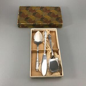 Vintage teaspoon sugar shovel spoon and jam spreader bishop Saint design boxed