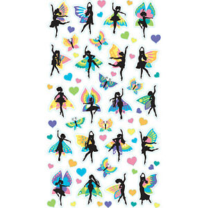 Scrapbooking Stickers Sticko Fairy Dancers Colorful Wings Butterflies Hearts
