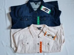 New Buffalo David Bitton Womens Knit Denim Jean Jacket Stretch Great Gift