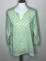 J.Jill Small Petite Green White Blue Tunic 3/4 Sleeve Geometric V-Neck Top Shirt