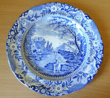 19c BRAMELD BLUE AND WHITE 10 INCH PEARLWARE PLATE c1806-25 - FISHERMAN