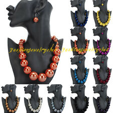 Classic Black Chunky Big Pearl Resin Beads Statment Bib Necklace Earrings Set