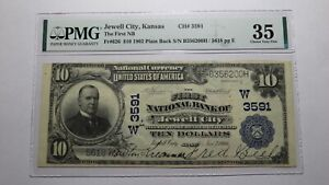 $10 1902 Jewell City Kansas KS National Currency Bank Note Bill Ch #3591 VF35