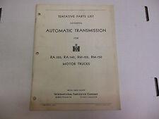 Tentative Parts List Covering Automatic Tranmission Original 060713ame