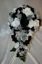 Bridal Bouquet Package Black Silver White Silk Wedding Flowers Bridal Only