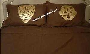 Queen size Wakanda African Masks sheet set- chocolate brown