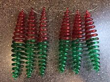 6 Red Green Spiral Christmas Tree Ornaments Holiday Decorations 5""