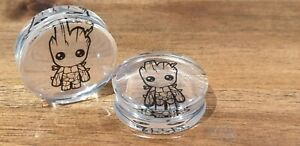 Pair Baby Groot Guardians of the Galaxy Ear Plugs Tunnel Stretcher Taper 8-30mm