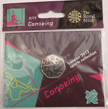 2012 50p OLYMPIC 08/29 CANOEING COIN HANGING BAG BRILLIANTLY UNCIRCULATED £