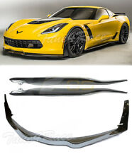 For 14-Up Corvette C7 Z06 Stage 3 Front Lip & Side Skits & Winglets CARBON FLASH