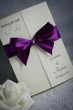 SAMPLE Gatefold (w) Wedding Invitation Handmade with Satin Ribbon