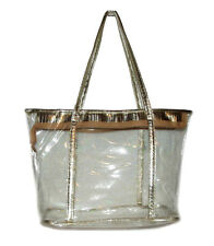 NEW Clear Gold jelly Transparent See-thru Handbag Tote Purse Plastic bag Shine
