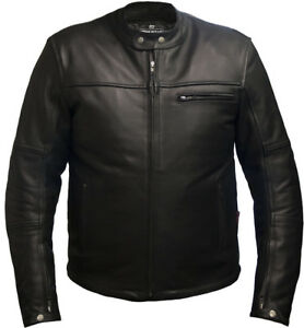 Mens LEATHER CE ARMOURED  Motorcycle Motorbike BIKER JACKET Black All Sizes NEW