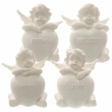 Set of 4 Cherubs Sitting with Heart Stone Hope Dream Love Believe