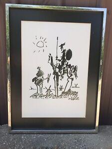 LARGE VINTAGE PABLO PICASSO Don Quixote Sancho Panza De Mancha Ink Print Litho
