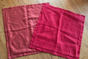 2 Pottery Barn Linen Pillow Pink & Bright Pink 2 Tone Orange Cover 20 x 20