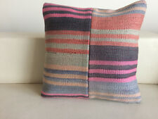 "Kilim Pillow Cover 16x16""(40x40cm) Vintage Turkish Patchwork Kilim Cushion Cover"