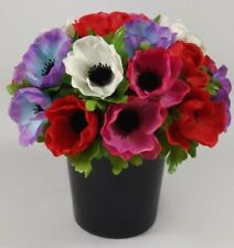 Round Artificial/Silk flower Grave Arrangement in memorial Crem pot HandMade