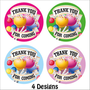144 x Thank You For Coming party stickers labels for birthdays parties