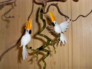 Glasfigur Kakadu Blüte Lauscha Glasbläserei Handarbeit