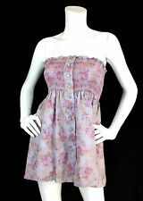 Nanette Lepore Sz 2 S Top Smocked Strapless Purple+Pink Print Button Front EUC