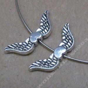 50x Retro Tibetan Silver Love Heart Angel wings Spacer Beads DIY Findings 195AF