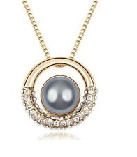 18K YELLOW GOLD PLATED STIMULATED PEARL PENDANT AUSTRIAN  CRYSTAL NECKLACE Gift