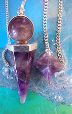 2 AMETHYST CRYSTAL DOWSING PENDULUMS, 6-SIDED POINT AND MERKABA STAR, 2 POUCHES